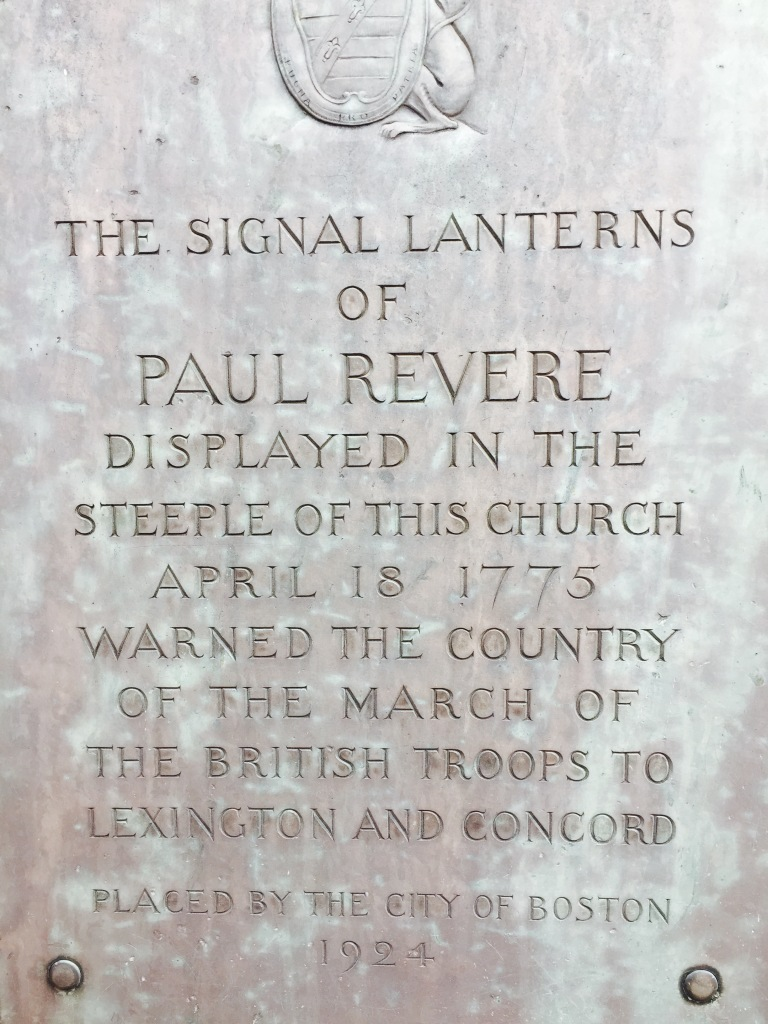 Marking the ride of Paul Revere outside the Old North Church