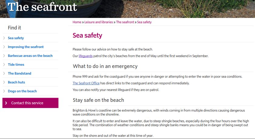Sea safety section from the Brighton & Hive City Council website