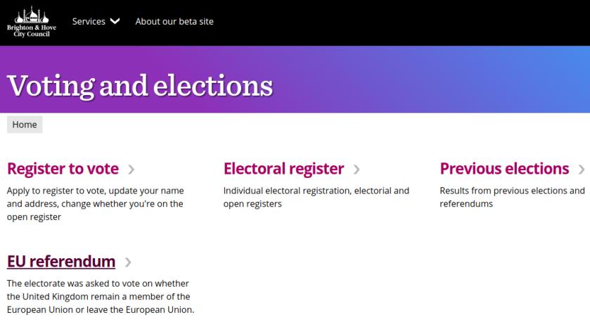 Brighton & Hove City Council Beta website
