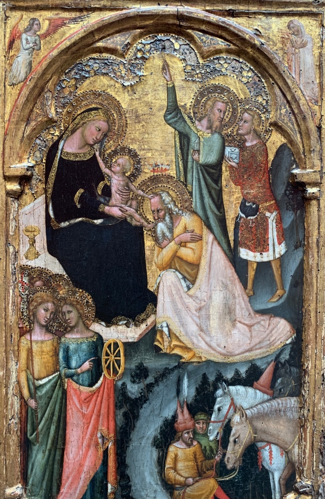 The Adoration of the Kings with Saints Ursula and Catherine of Alexandria by Vitale da Bologna, 1350